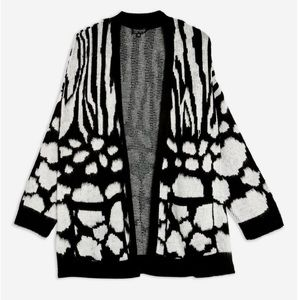 Topshop Zebra Print Mix Design Cardigan